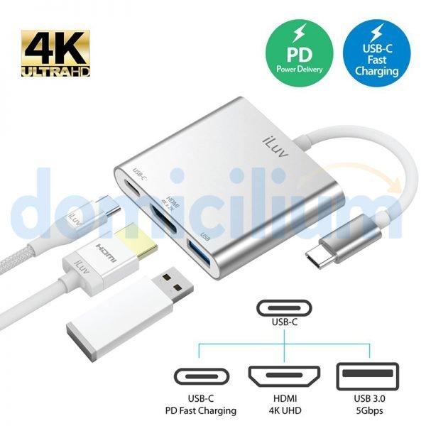 Adaptador iLuv de USB C a 3 puertos